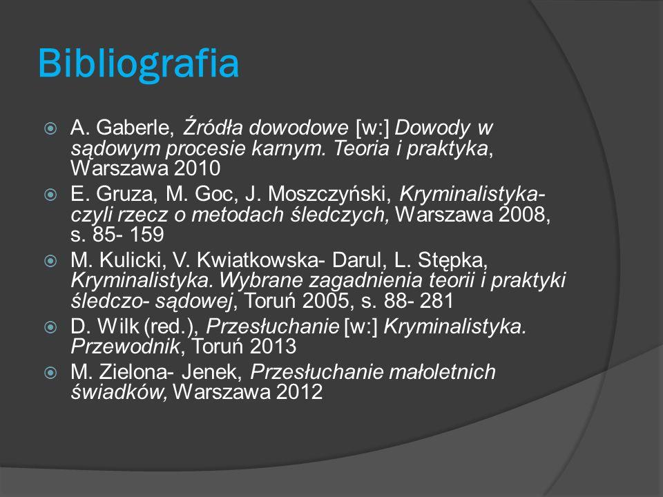 Bibliografia A. Gaberle, Źródła dowodowe [w:] Dowody w sądowym procesie karnym. Teoria i praktyka, Warszawa 2010.